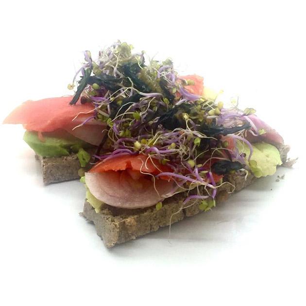 pan con aguacate, salmón, brotes, cebolla